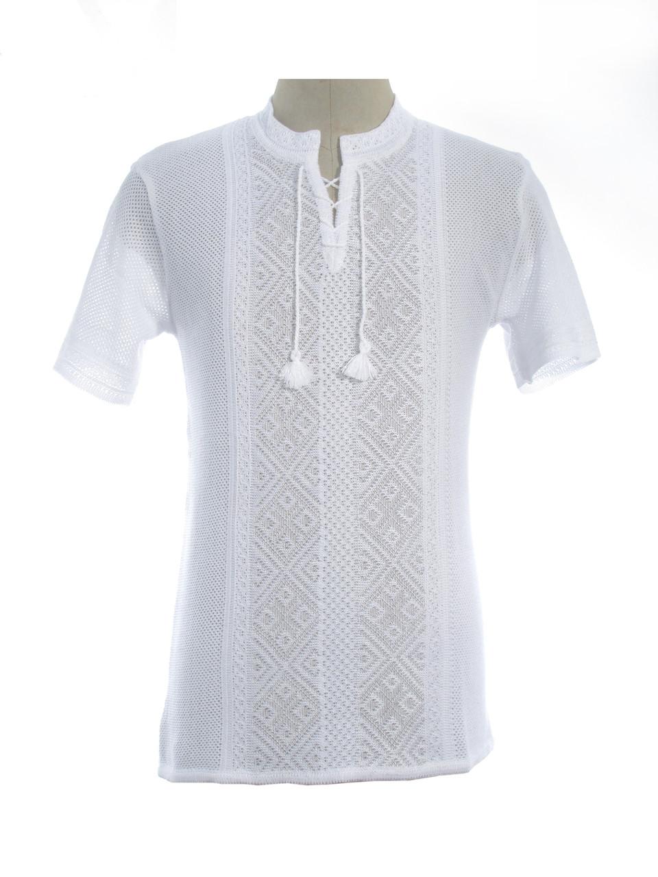 Мужская вязаная рубашка Назар (короткий рукав) (х/б)