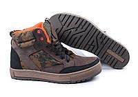 Ботинки кроссовки коричневые  кожа crazy для рыбалки и охоты, фото 1