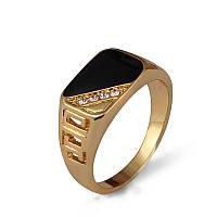 Перстень печатка узкая диагональ фианиты покрытие золотом  18К