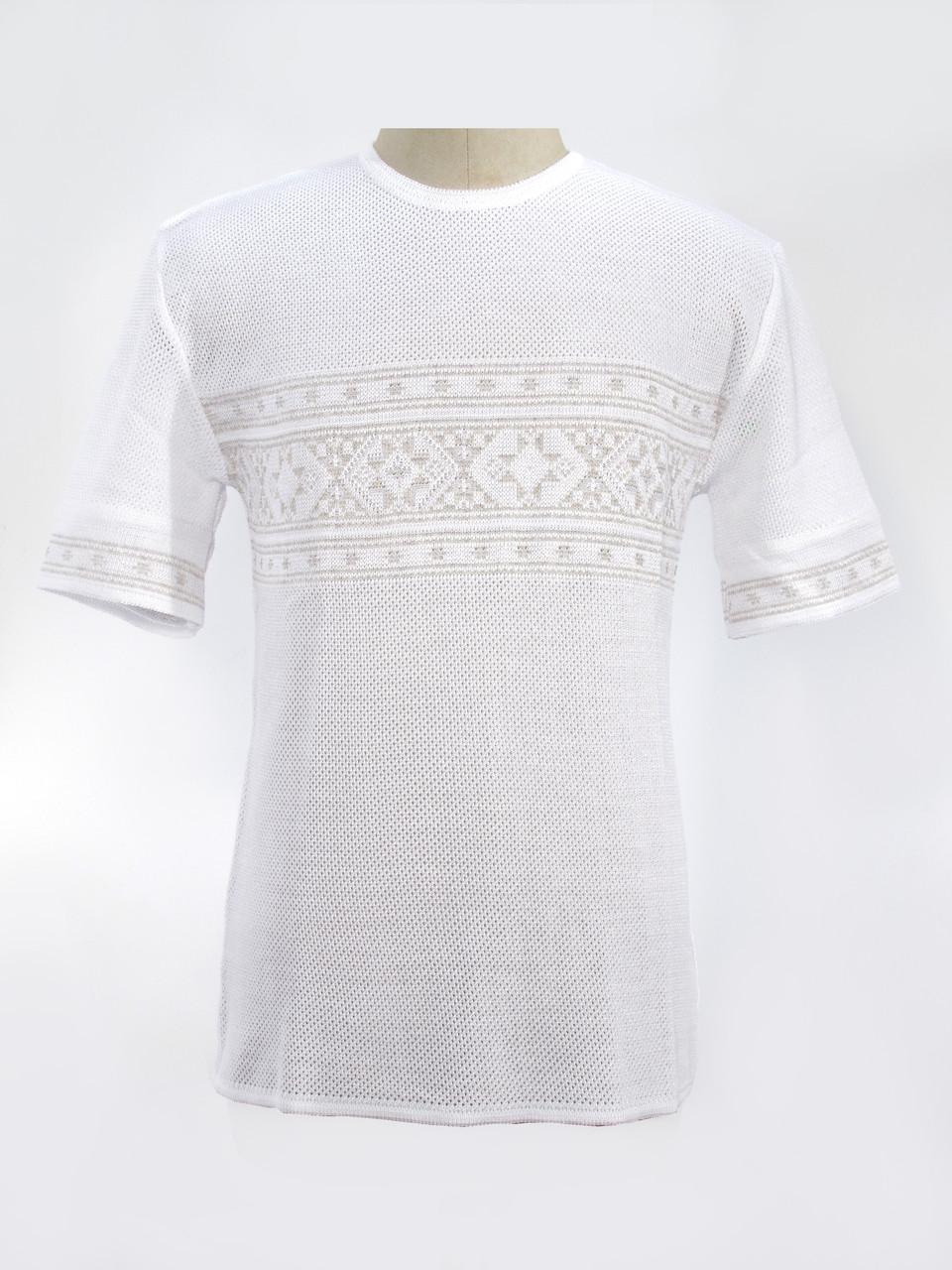 Мужская вязаная рубашка 20293 (короткий рукав) (х/б)