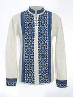 Мужская вязаная рубашка Цветочек синий