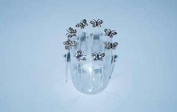 Шпилька для волос Бабочка белые стразы