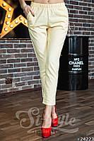 Трендовые льняные женские брюки однотонные