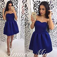 Платье модное стильное с корсетным верхом и пышной юбкой из неопрена 4 цвета SML89