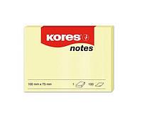 Бумага для заметок с клейким слоем (75х100), 100л, желтый, K46100