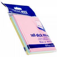 Бумага для заметок с клейким слоем (75х75), 100л, пастель, mix, E20936
