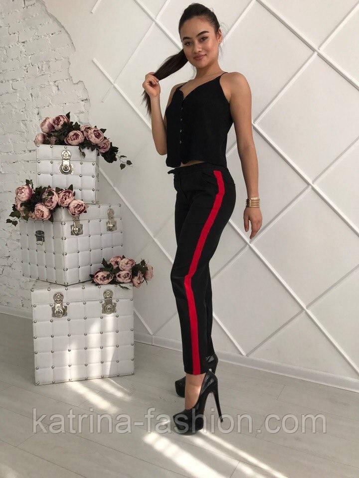 Женские красивые брюки со вставкой (2 цвета)