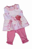 Нарядный комплект, туника в шифоновым верхом и лосины с шифоновыми оборочками для девочки, итальянский бренд