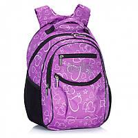 """Рюкзак школьный Dolly 502 ортопедический на два отдела с рисунком """"сердечки"""" для девочки разные цвета"""