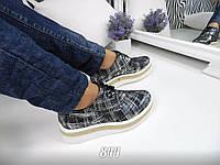 Туфли женские кожаные на толстой  подошве