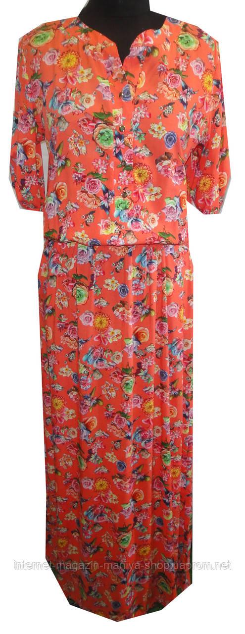 Платье женское пуговицы цвыты в пол полу батал (лето)