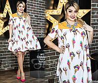 Симпатичное платье с милым принтом «мороженное». Платье выполнено в белом цвете с желтыми вставками.