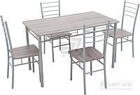 Комплект Визит-1 Стол обеденный (120x70x75) со стульями 4 шт. (38x37x90)