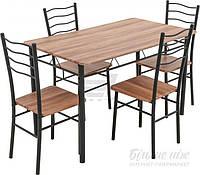 Комплект Визит-2 Стол обеденный (120х70х75) со стульями 4 шт. (38х37х90)