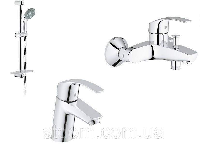 Набор для ванной комнаты (душевой гарнитур + смесители для раковины и ванны) Grohe Eurosmart 123238