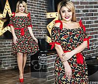Очаровательная модель А-силуэта с симпатичными принтами. Яркое коктейльное платье для настоящих кокеток.