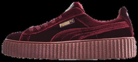Женские кроссовки Rihanna x Puma Velvet Fenty Creeper Bordo купить в ... 3fb3674b63b8f