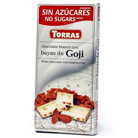 Шоколад белый Torras Bayas De Goji с ягодами Годжи, 75 г (Испания), фото 2