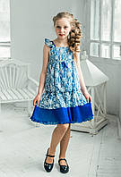"""Нарядное платье-сарафан кружевной, слева на груди значок """"TREAPI"""" ,"""