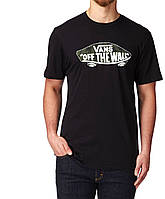 Футболка Vans Off The Wall черная с логотипом, унисекс (мужская, женская, детская)