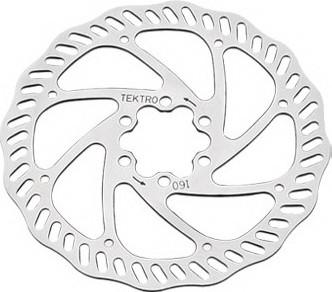 Ротор дискового тормоза велосипедный Tektro волнистый 160мм под болты+6 болтов