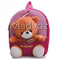 Детский рюкзак для дошкольников с мягкой игрушкой мишка полосы розовый