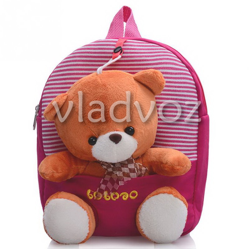 Детский рюкзак для дошкольников с мягкой игрушкой мишка полосы розовый - интернет магазин vladvoz.in.ua мтс 0664476900, киевстар 0977864700, лайф 0933641800 в Николаевской области