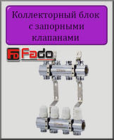 """Коллекторный блок с запорными клапанами Fado 1""""х3/4"""" на 2 выхода"""