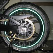"""Світловідбиваючі смуги на мото диски 17-19""""(зелені)"""