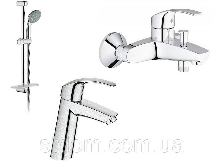 Набор для душа (смеситель для раковины, душевой гарнитур и смеситель для ванны) Grohe Eurosmart 123246 M