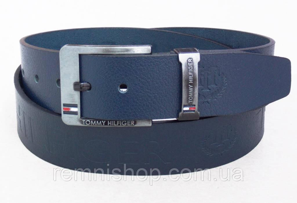Мужской кожаный пояс для джинс Tommy Hilfiger синий