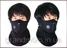 Неопреновая маска от ветра черная. Флисовая маска для лиж, лыжная маска.