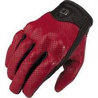 Кожаные перфорированные мотоперчатки Icon Pursuit red