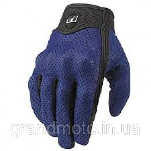 Кожаные перфорированные мотоперчатки Icon Pursuit blue. В наличии размер М.