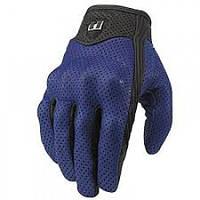 Кожаные перфорированные мотоперчатки Icon Pursuit blue