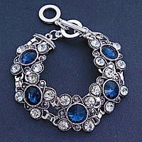 Красивый браслет под серебро с синими кристаллами(чешское стекло),20см