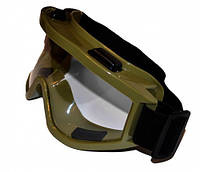 Тактическая / горнолыжная / кроссовая маска прозрачная зеленая