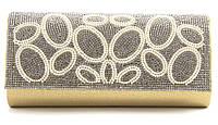 Стильный элитный гламурный небольшой блестящий в стразах женский клатч для выпускного art. 1314-702c золото