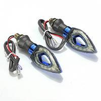 Мотоповоротники светодиодные с отверстием синие (пара)