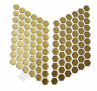 Соты на бак мотоцикла золотые (наклейки на боковины бака)