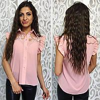 Женская красивая блузка с кружевом 076 / розовая