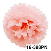 Шар помпон из бумаги тишью розовый 35 см. Уценка.