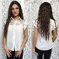Женская красивая блузка с кружевом 076 / белая