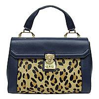 Женская  сумка из натуральной кожи фабричная (отшита  в Италии) синего цвета со вставкой меха