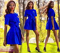 """Стильное женское платье-туника """"Латино"""" (коттон, пышная юбка, длина мини, пояс, короткие рукава) РАЗНЫЕ ЦВЕТА!"""