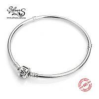 Серебряный браслет Пандора (Pandora) 21 см