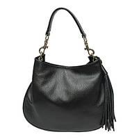 Женская  сумка из натуральной кожи фабричная (отшита  в Италии) черного цвета, на одну ручку,одно отделение