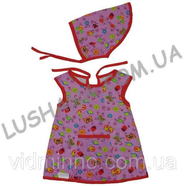 Комплект платье + косынка Полянка на рост 80-86 см - Кулир