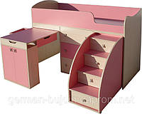 """Детская кровать чердак """" Школьник""""  Розовая - Молочный дуб"""