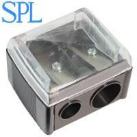 SPL Точилка 9198 косметическая двойная с крышкой (черная) 1шт
